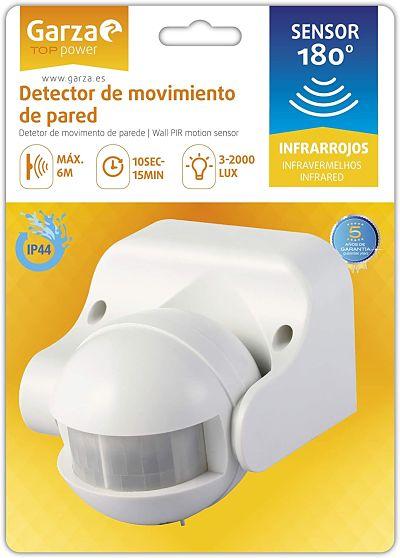 Garza Power - Detector de Movimiento Infrarrojo de Pared, Ángulo de Detección 180º
