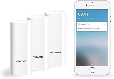 Netatmo Sensores Inteligentes para Puertas y Ventanas Netatmo, inalámbricos, de una pieza, pack de 3, con detección de vibraciones