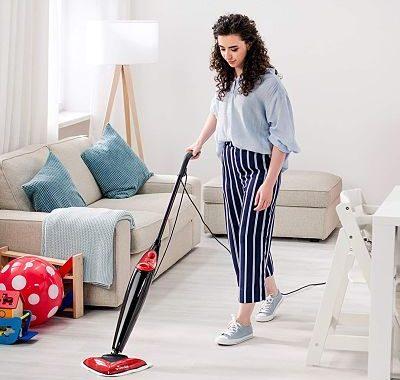 Vileda Steam - Mopa a vapor con cabezal triangular, mopa eléctrica ligera con cable de 6 m, apta para suelos duros y moquetas, color rojo y negro moqu (1)