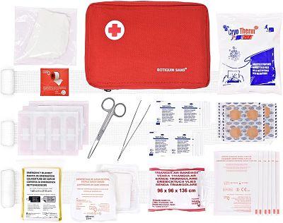 Botiquín primeros auxilios ROL 90 artículos incluye venda triangular manta de emergencia bolsa de frío etc